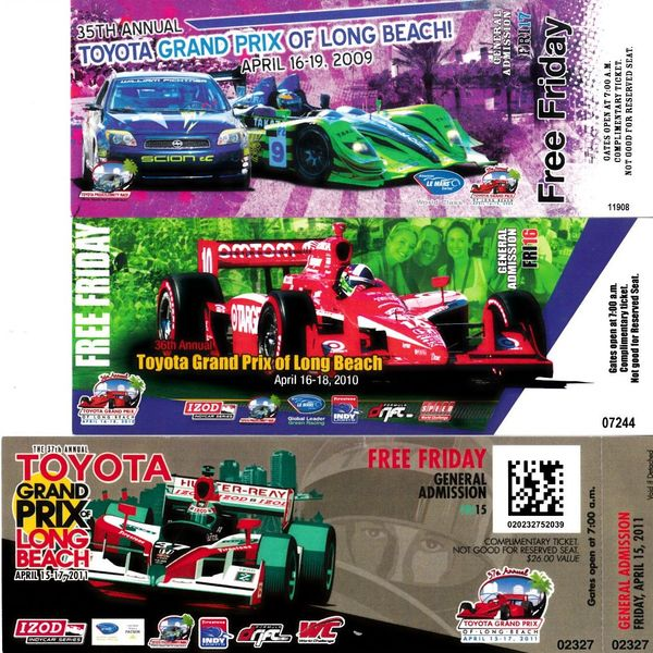 Long Beach Grand Prix 2009 2010 2011 ticket stubs (Dario Franchitti Ryan Hunter-Reay Mike Conway)