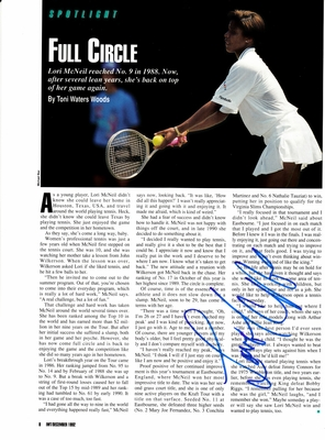 Lori McNeil autographed tennis magazine page with photo