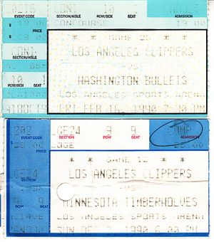 Los Angeles Clippers lot of 2 1990 ticket stubs