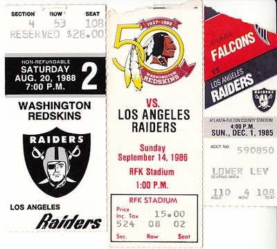 Los Angeles Raiders lot of 3 vintage 1980s road game ticket stubs (Marcus Allen)