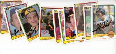 Lot of 11 different autographed 1983 Donruss baseball cards (Steve Balboni Tom Niedenfuer Richie Zisk)