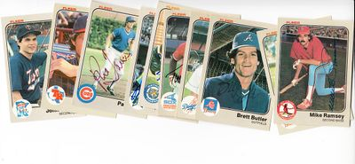 Lot of 10 different autographed 1983 Fleer baseball cards (Tony Bernazard Brett Butler Pat Tabler)