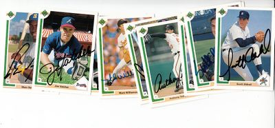 Lot of 10 different autographed 1991 Upper Deck baseball cards (Pedro Munoz Billy Ripken)