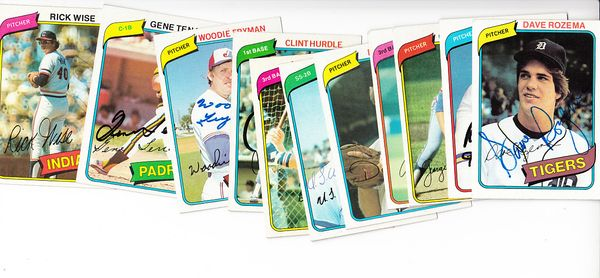 Lot of 11 different autographed 1980 Topps baseball cards (Ron Cey Carney Lansford Dan Petry Gene Tenace Rick Wise)