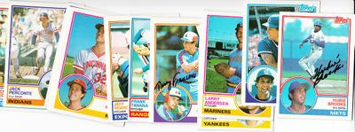 Lot of 12 autographed 1983 Topps baseball cards (Hubie Brooks Terry Francona Rich Gedman Jeff Reardon Frank Tanana)