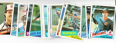 Lot of 16 different 1985 Topps autographed baseball cards (Steve Bedrosian Chris Chambliss Steve Garvey)