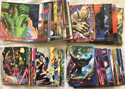 Lot of 139 1993 SkyBox Marvel Masterpieces 1994 Fleer Marvel Masterpieces and 1994 Fleer Marvel Universe comic cards