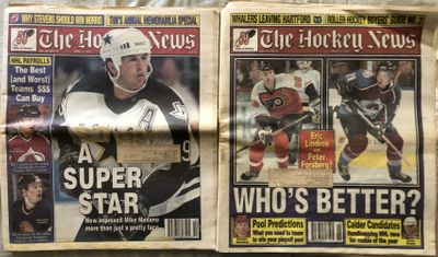 Lot of 2 April 1997 Hockey News issues (Peter Forsberg Eric Lindros Mike Modano covers)