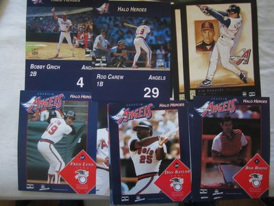 Lot of 20 assorted 1997 and 1998 Anaheim Angels 8 1/2 x 11 photo or artwork cards (Rod Carew Jim Edmonds Darin Erstad)