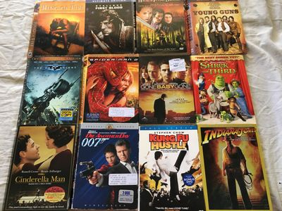 Lot of 24 DVD movie slipcovers (Cinderella Man Dark Knight First Blood Prestige True Romance Young Guns)