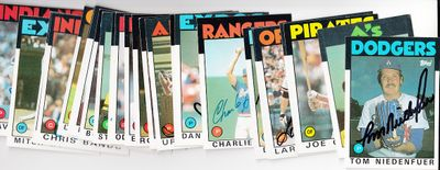 Lot of 25 different 1986 Topps baseball cards (Bill Buckner Charlie Hough Tom Niedenfuer Jim Presley Mitch Webster)