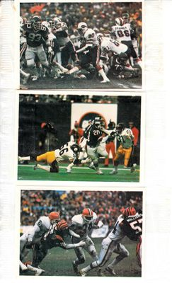 Lot of 3 1986 Jeno's Pizza Rolls football sticker cards (Joe Cribbs Kevin Mack Joe Morris)