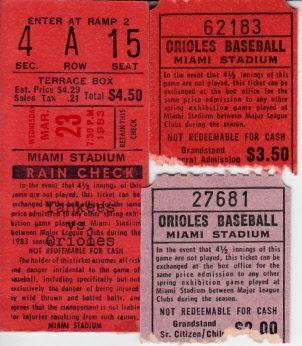 Lot of 3 Baltimore Orioles 1980s spring training game ticket stubs (Cal Ripken)