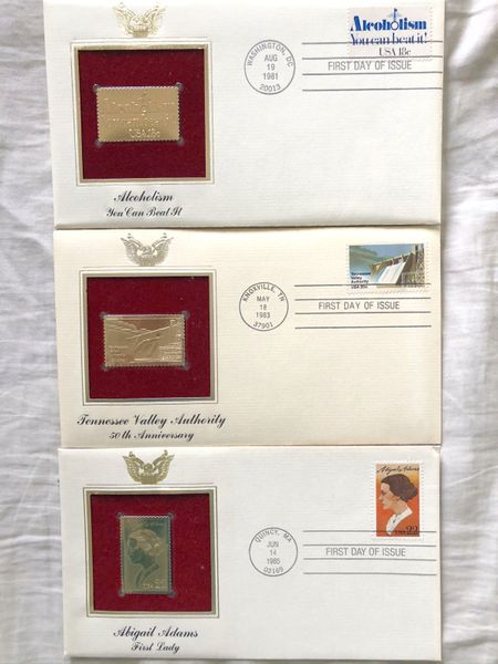 Lot of 3 different 1981 1983 1985 gold stamp replica cachets USPS First Day Covers