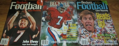 Lot of 3 John Elway Denver Broncos Beckett Football Monthly magazines