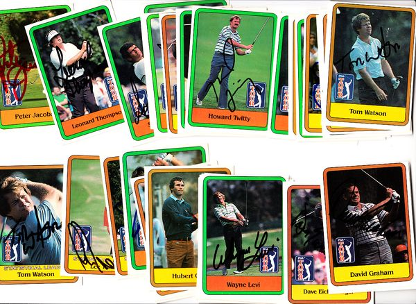 Lot of 31 autographed 1981 Donruss golf cards Tom Watson Lee Trevino Ray Floyd Ben Crenshaw Larry Nelson
