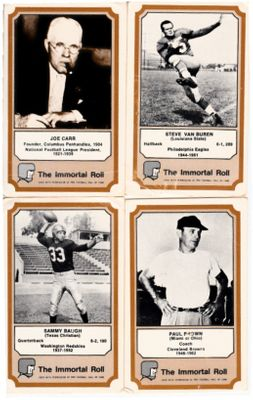 4 1974 Fleer Pro Football Hall of Fame cards (Sammy Baugh Paul Brown)