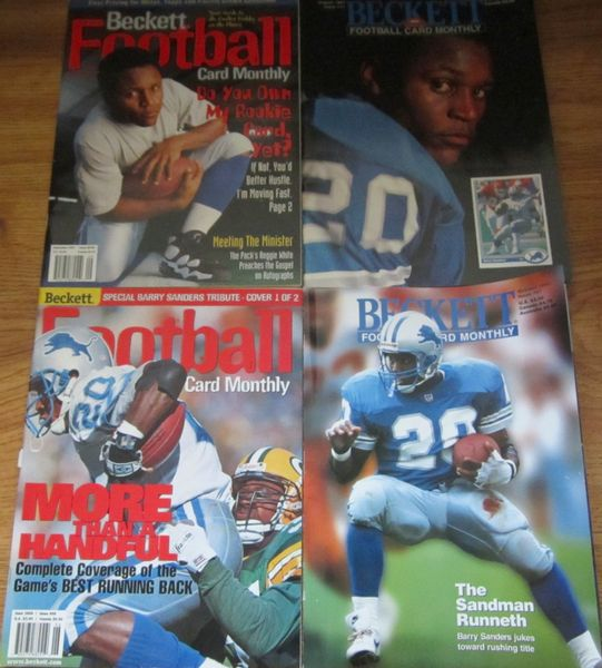 Lot of 4 Barry Sanders Detroit Lions Beckett Football Monthly magazines