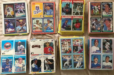 Lot of 43 1986 1987 1988 1989 Donruss Fleer Topps baseball four card wax box bottom panels