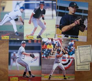 Lot of 5 1995 Signature Rookies autographed 8x10 baseball photos (Mike Bovee Nick Delvecchio Tom Fordham Ryan Helms Sid Roberson)