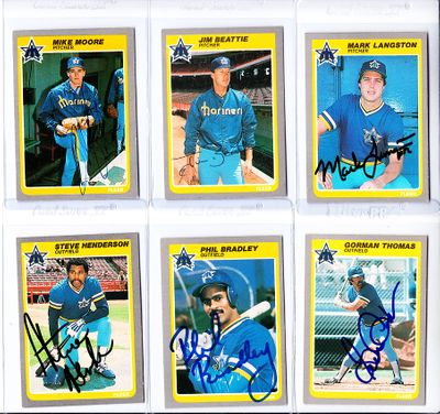 Lot of 6 autographed Seattle Mariners 1985 Fleer cards (Phil Bradley Mark Langston Gorman Thomas)