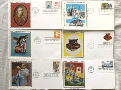 Lot of 6 different 1977 and 1978 Colorano or Cliffco Silk Cachets USPS First Day Covers