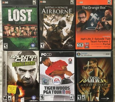 Lot of 6 Windows PC games Medal of Honor Airborne Tiger Woods 06 Tomb Raider Anniversary Splinter Cell Double Agent
