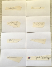 Lot of 8 100 Win pitchers autographs or cut signatures PSA/DNA (Red Lucas Preacher Roe Hal Schumacher Rube Walberg)