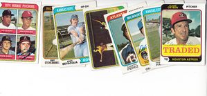 Lot of 8 autographed 1974 Topps baseball cards (Claude Osteen Freddie Patek Frank Tanana)