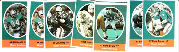 Lot of 8 Miami Dolphins 1972 Sunoco stamps
