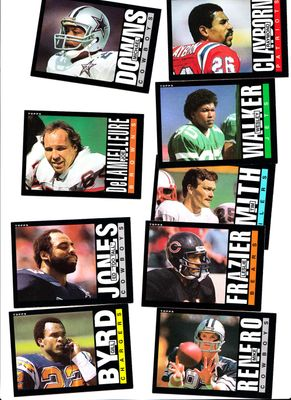 Lot of 9 1985 Topps Football blank back cards Leslie Frazier Ed Too Tall Jones Wesley Walker