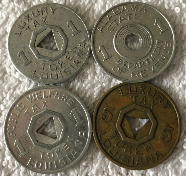 Lot of 4 different Louisiana and Alabama 1930s or 1940s Luxury Public Welfare and Sales Tax tokens