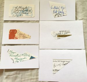Lot of 6 NCAA basketball coach autographs or cut signatures (Mike Anderson Clem Haskins Pat Kennedy Dave Odom Lorenzo Romar)