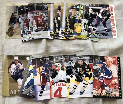 Lot of 13 assorted 1990s Classic Collector's Choice Pinnacle Score Ultra Upper Deck hockey insert cards