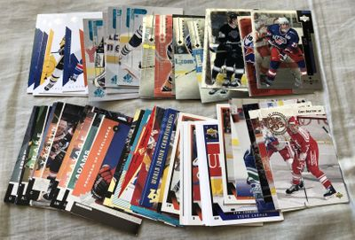 Lot of 57 assorted Upper Deck, SP and SP Authentic NHL Hockey cards including stars and RCs