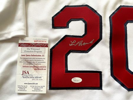Lou Brock autographed St. Louis Cardinals authentic Majestic white jersey (JSA Witnessed)