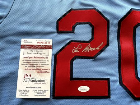 Lou Brock autographed St. Louis Cardinals authentic Nike Cooperstown Collection blue jersey (JSA Witnessed)