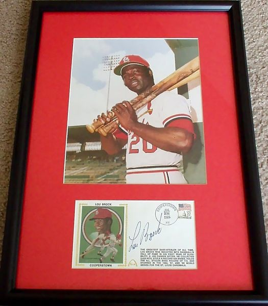 Lou Brock autographed St. Louis Cardinals Hall of Fame cachet framed with 8x10 photo