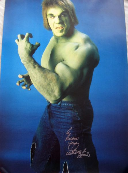 Lou Ferrigno autographed Incredible Hulk 24x36 inch poster (To Andrew)