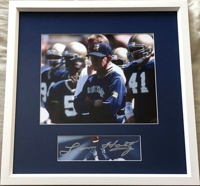 Lou Holtz autograph matted and framed with Notre Dame Fighting Irish 8x10 photo