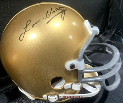 Lou Holtz autographed Notre Dame Fighting Irish mini helmet
