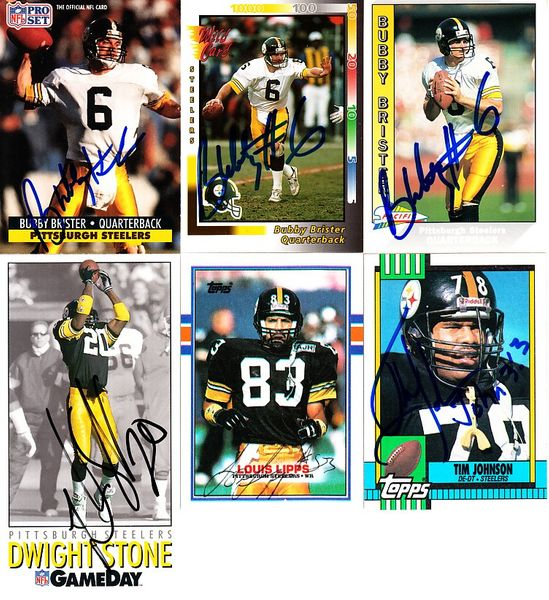 6 Pittsburgh Steelers autographed cards (Bubby Brister Louis Lipps Dwight Stone)
