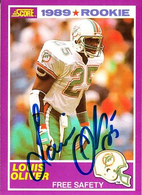 Louis Oliver autographed Miami Dolphins 1989 Score Supplemental Rookie Card