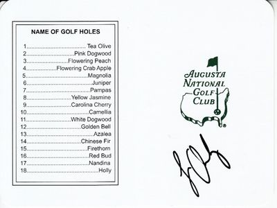 Louis Oosthuizen autographed Augusta National Masters scorecard