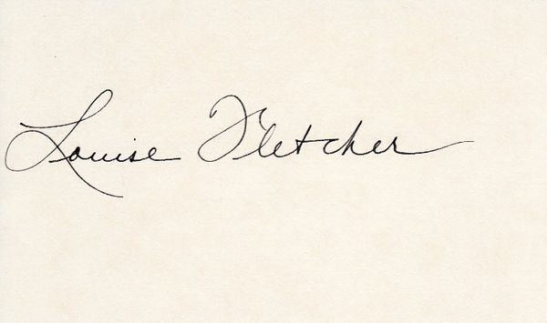 Louise Fletcher autographed index card