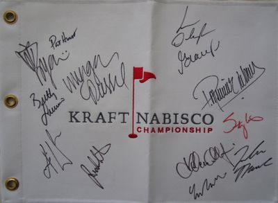 LPGA Kraft Nabisco embroidered canvas golf pin flag autographed by 11 winners (Stacy Lewis Lorena Ochoa Inbee Park Yani Tseng Karrie Webb)