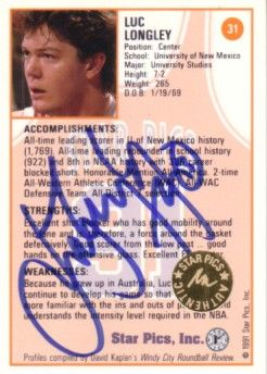 Luc Longley certified autograph 1991 Star Pics card