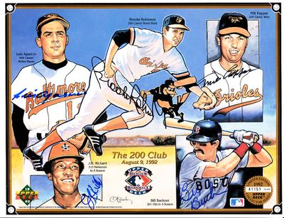 Luis Aparicio Bill Buckner Milt Pappas J.R. Richard Brooks Robinson autographed Baltimore Orioles 1992 Upper Deck card sheet