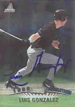 Luis Gonzalez autographed Arizona Diamondbacks 1999 Stadium Club card