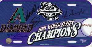 Luis Gonzalez Steve Finley Reggie Sanders Matt Williams autographed Arizona Diamondbacks 2001 World Series Champions license plate